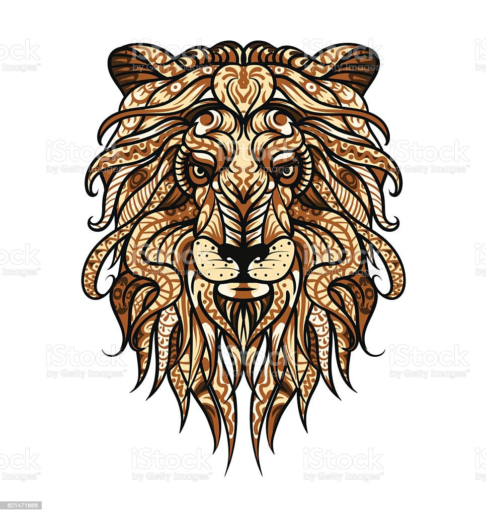 ec2c9b832 Patterned head of the lion. African / indian totem / tattoo design  royalty-free