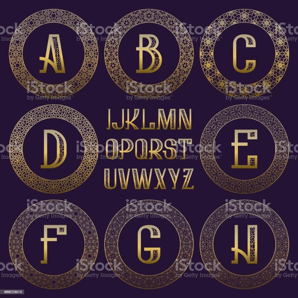 Ilustración de Kit De Estampado Monogram Letras De Oro Y Ornamental ...