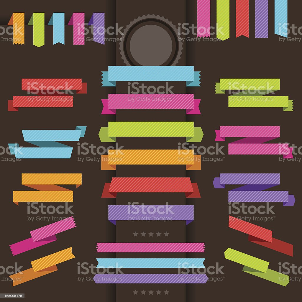 Patterned origami retro ribbons and tags. royalty-free stock vector art