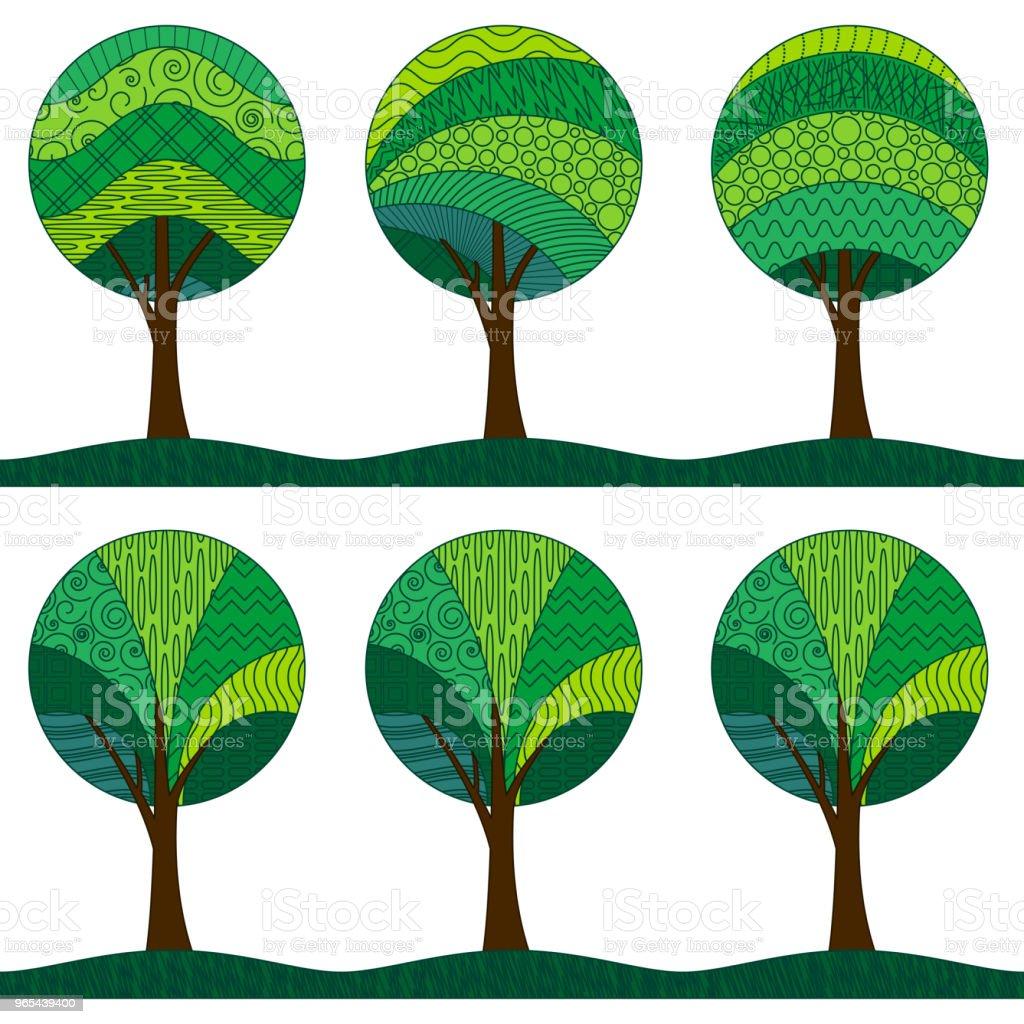 Patterned Trees, Seamless Pattern patterned trees seamless pattern - stockowe grafiki wektorowe i więcej obrazów bez ludzi royalty-free