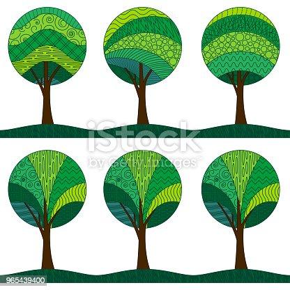 Patterned Trees Seamless Pattern - Stockowe grafiki wektorowe i więcej obrazów Bez ludzi 965439400