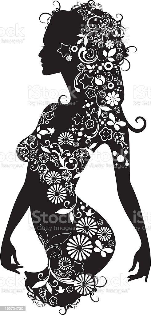 Patterned woman. vector art illustration