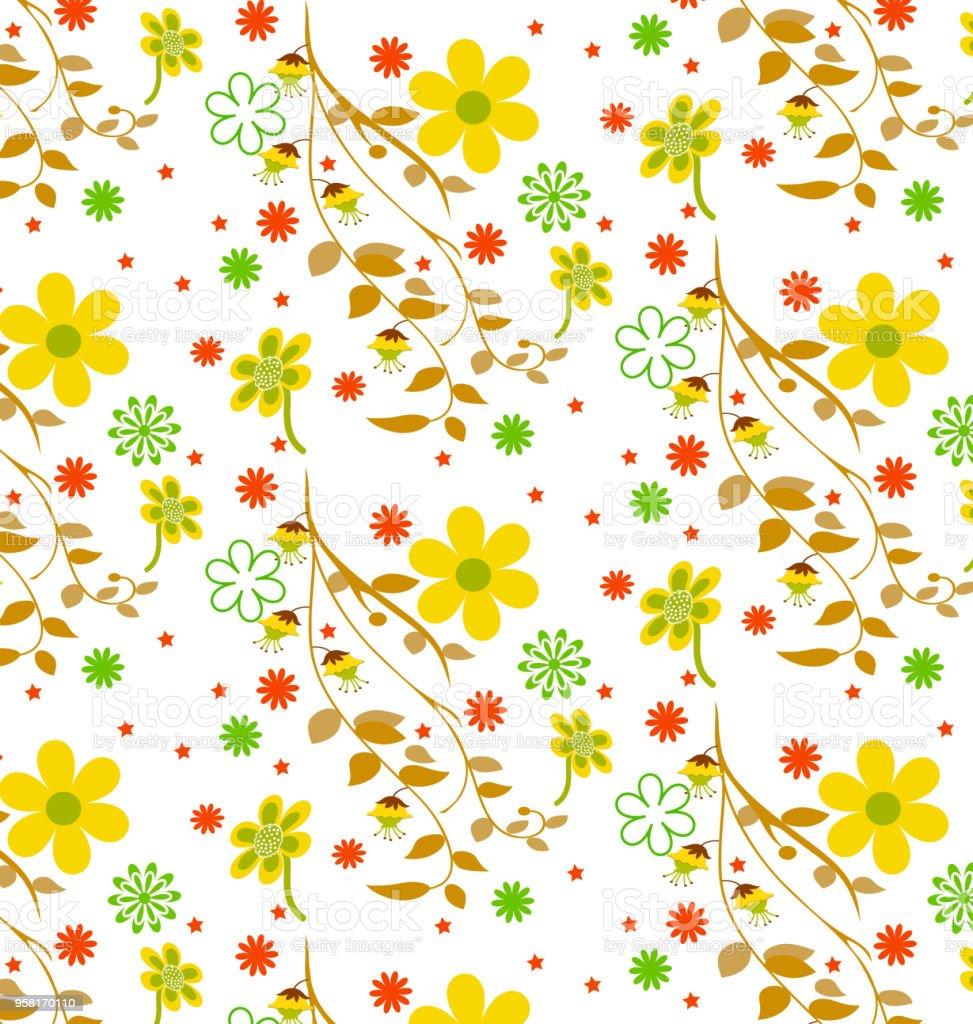Ilustración de Patrones Flores Lindas y más banco de imágenes de ...