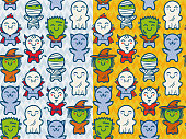 Vector set seamless patterns with children in costumes for Halloween. Patterns with cute kids in Halloween monsters costumes.