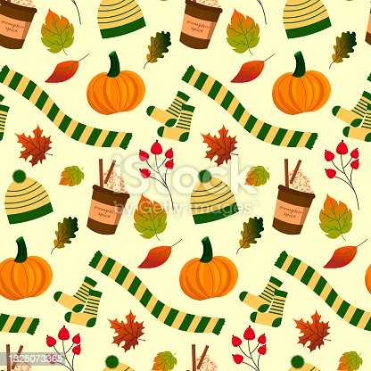 istock Patterns of coffee, pumpkin, autumn attributes - hat, scarf and leaves. 1325073365
