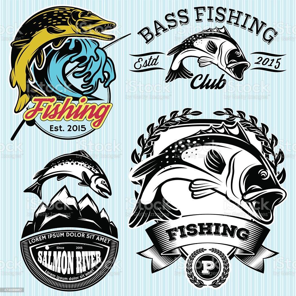 Motifs avec des symboles pour la pêche avec pike, saumon, bar - Illustration vectorielle