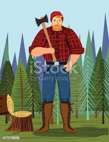 istock Paul Bunyan Style Lumberjack In the Woods With An Axe 477276508
