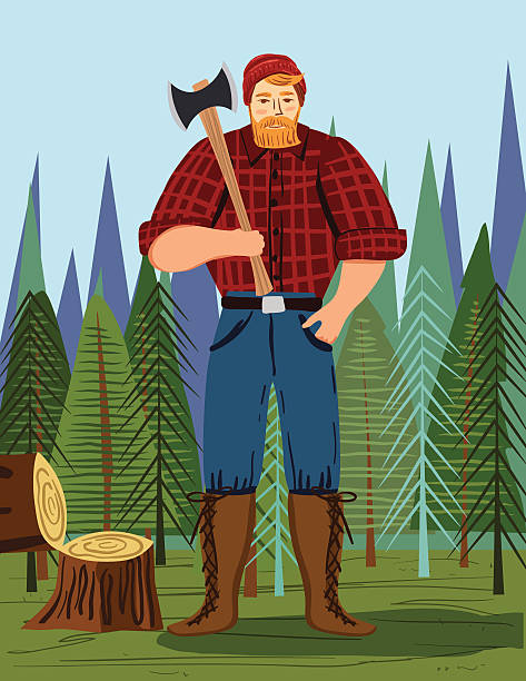 paul bunyan style lumberjack in the woods with an axe - redhead stock illustrations