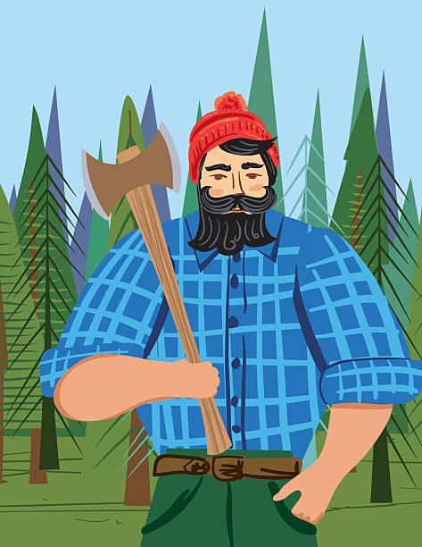 illustrations, cliparts, dessins animés et icônes de paul bunyan style bûcheron dans les bois avec une hache - man axe wood
