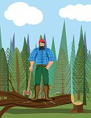 Paul Bunyan Style Lumberjack In the Woods With An Axe. He stands in front of a small forest. There is a chopped tree under him and he holds his axe. Vertical