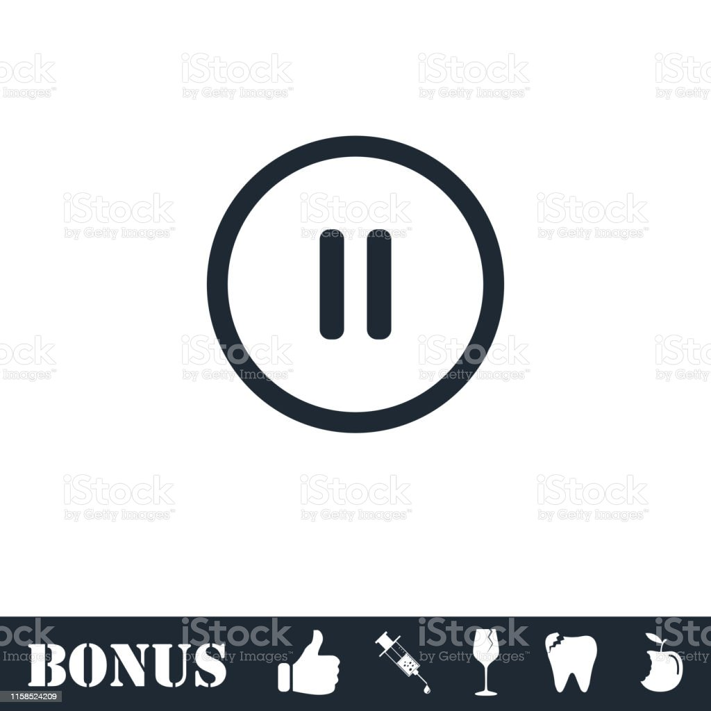 Pause Button Icon Flat Stock Illustration - Download Image