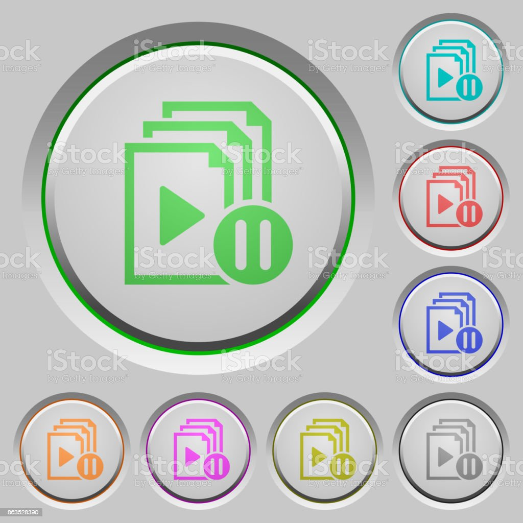 Pause playlist push buttons vector art illustration