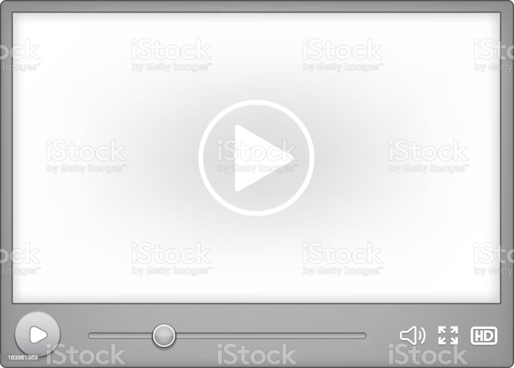 Paused media player with play button in center to resume vector art illustration