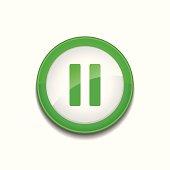 Pause Sign Circular Green Vector Web Button Icon