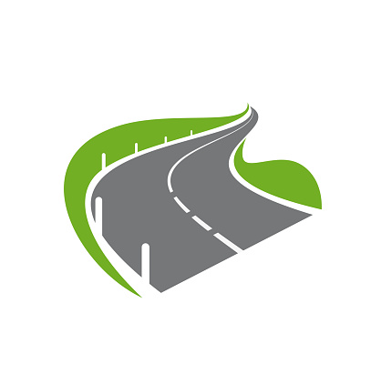 Paved curve road or highway with fencing icon