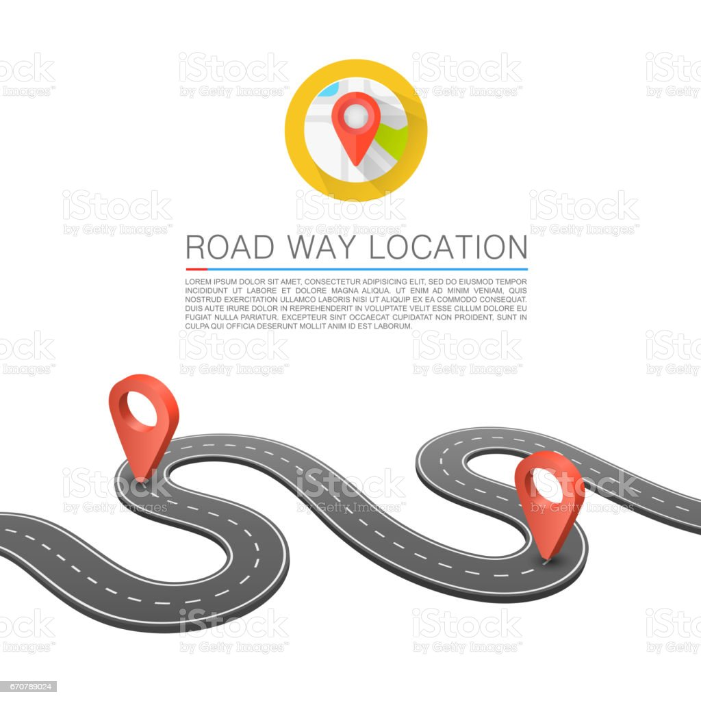 Paved path on the road, Road way location, Vector background, Curved road markings. vector art illustration