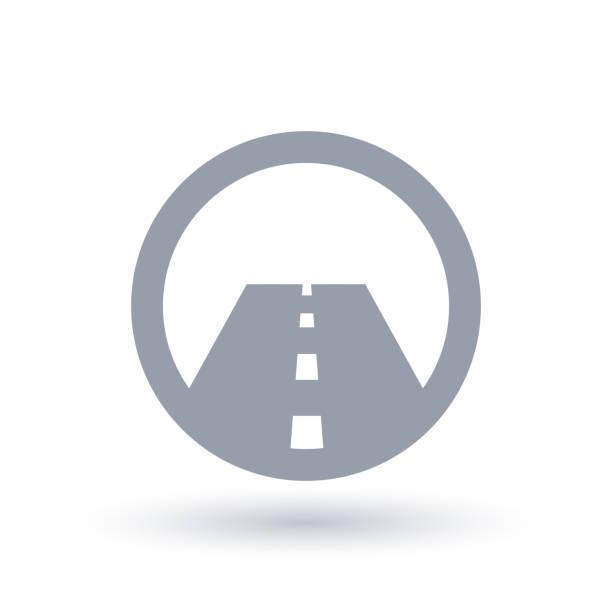 ilustraciones, imágenes clip art, dibujos animados e iconos de stock de icono de la recta asfaltada. símbolo de calle. - señalización vial