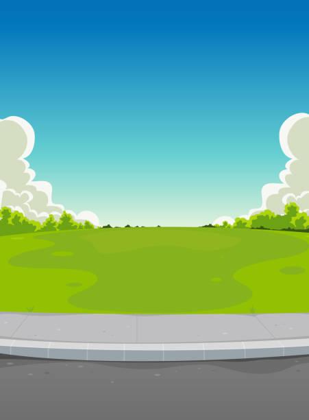 stockillustraties, clipart, cartoons en iconen met pavement and green park background - stoep