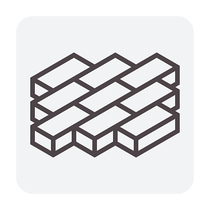Paver brick icon or brick paving icon or paving stone icon. Manufactured from concrete or stone. For creating pavement floor or paved floor at outdoor go well with walkway or patio. Vector icon design. Thin line or outline icon and editable stroke.