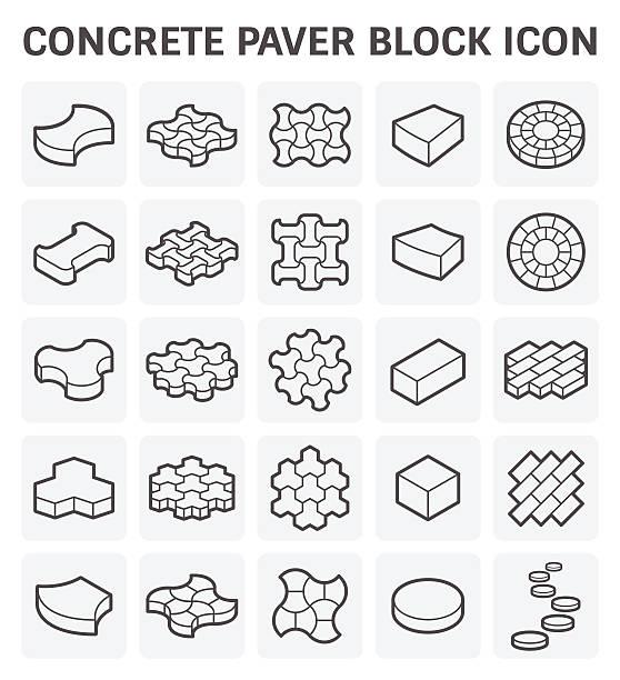 paver block-symbol - steinpfade stock-grafiken, -clipart, -cartoons und -symbole