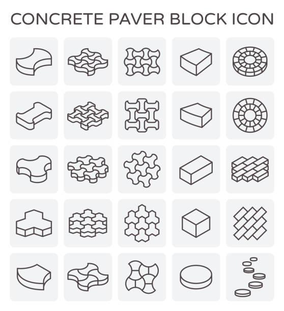fertiger block symbol - steinpfade stock-grafiken, -clipart, -cartoons und -symbole