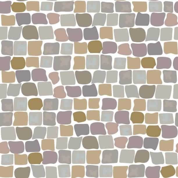 nahtlose muster pflastersteine straßenbelag. wand aus stein, gepflasterten straße - steinpfade stock-grafiken, -clipart, -cartoons und -symbole