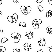 Paw Animal Vector Seamless Pattern Thin Line Illustration
