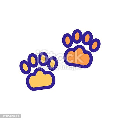 istock Paw icon vector. Isolated contour symbol illustration 1205455996