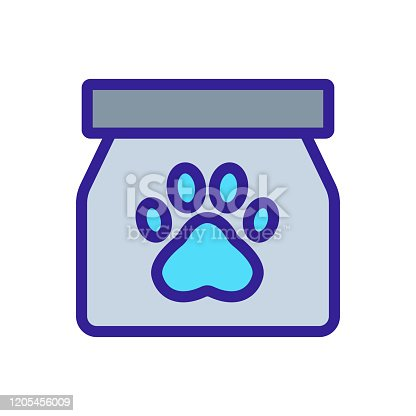 istock Paw icon vector. Isolated contour symbol illustration 1205456009
