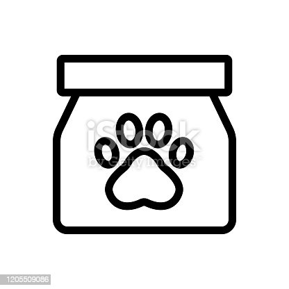 istock Paw icon vector. Isolated contour symbol illustration 1205509086