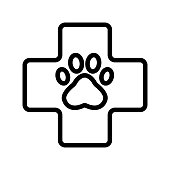 Paw icon vector. Thin line sign. Isolated contour symbol illustration