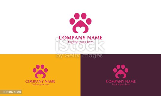 istock Paw logo icon of pet with heart 1224574289