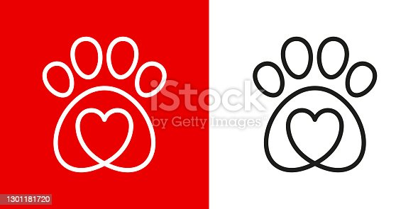 istock Paw logo icon of pet with heart 1301181720