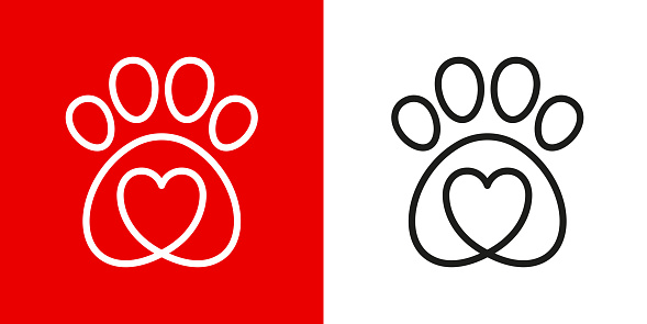 Paw logo icon of pet with heart