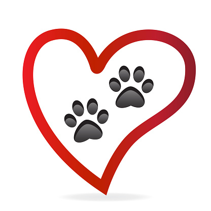 Download Paw Pet Inside Of Love Heart Logo Vector Icon Paw Prints ...