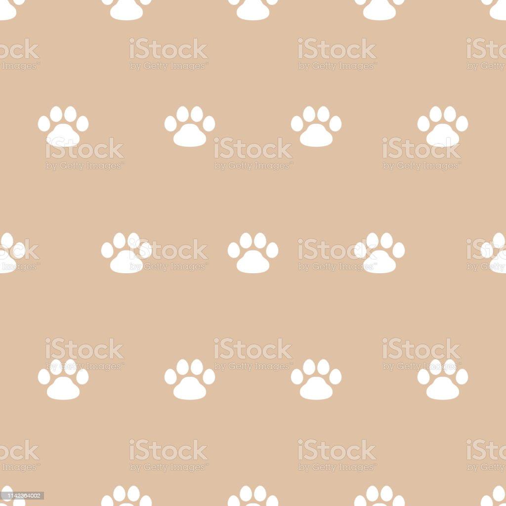 paw pet, kitten or puppy. seamless pattern, beige background,...