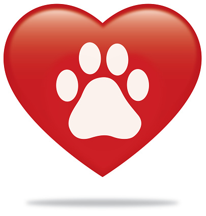 Download Paw Print Heart With Shadow Stock Illustration - Download ...