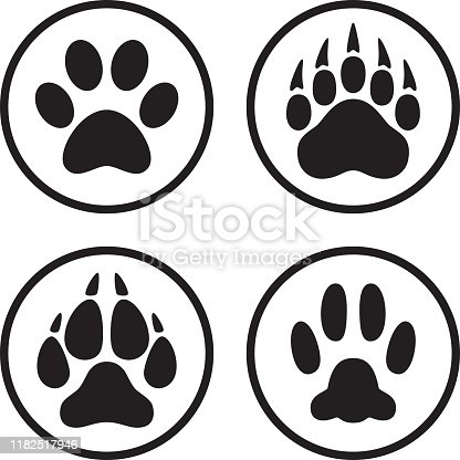 Vector illustration of a set of animal paw print icons in flat, line art style.