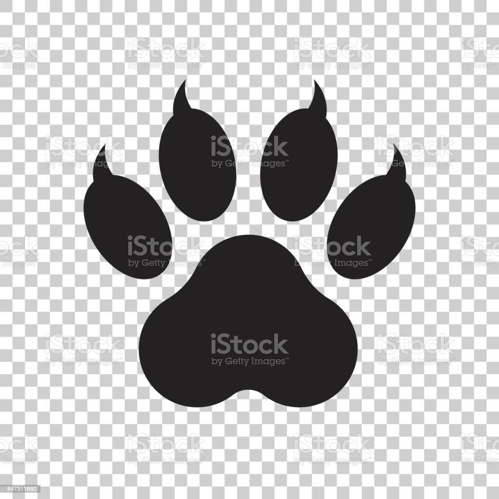 Ilustración de vector icono impresión aislado sobre fondo aislado de la pata. Perro, gato, oso pata símbolo pictograma plana. - ilustración de arte vectorial