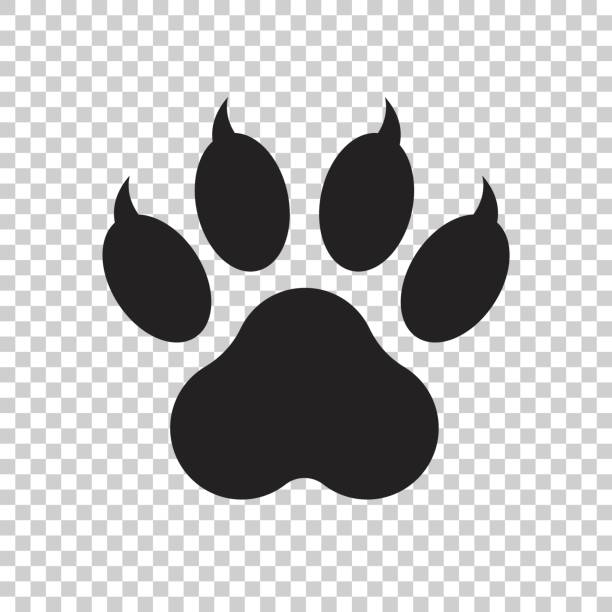 paw print icon vector illustration isolated on isolated background. dog, cat, bear paw symbol flat pictogram. - tiger stock illustrations, clip art, cartoons, & icons