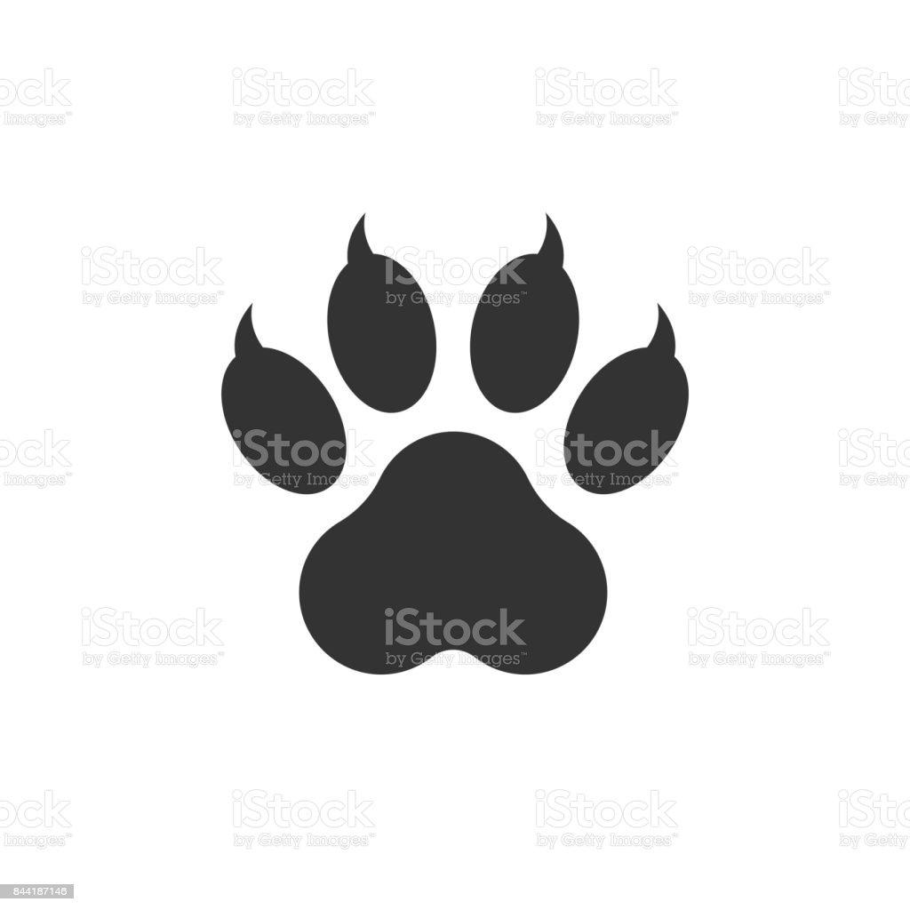 Paw print icon vector illustration isolated on white background. Dog, cat, bear paw symbol flat pictogram. vector art illustration