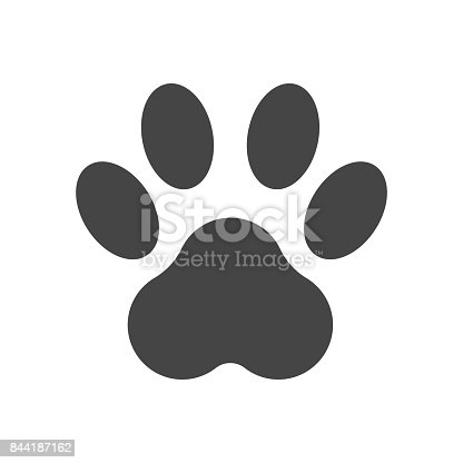 istock Paw print icon vector illustration isolated on white background. Dog, cat, bear paw symbol flat pictogram. 844187162