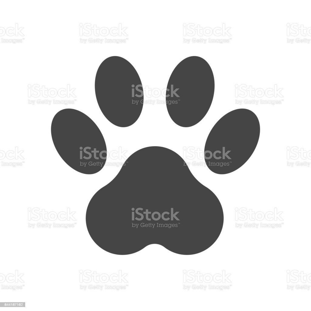 Paw print icon vector illustration isolated on white background. Dog, cat, bear paw symbol flat pictogram. vector art illustration