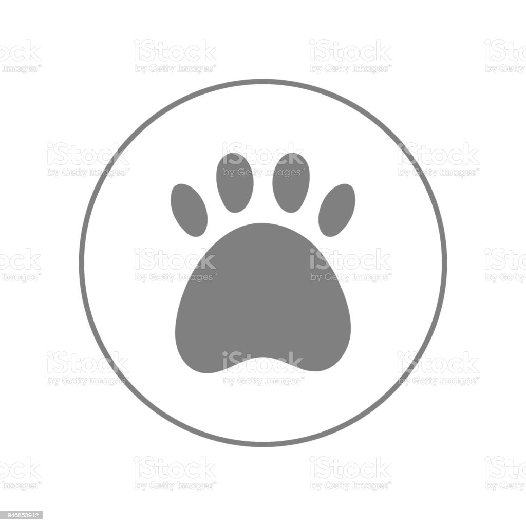 Paw Print Outline. Veterinary Clinic Symbol. Vector Icon Royalty Free Paw  Print Outline