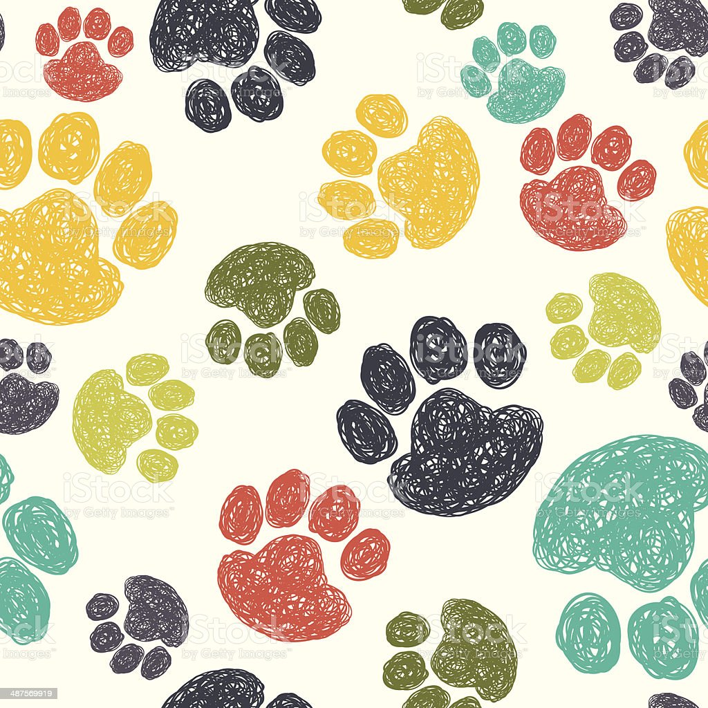 Paw print pattern vector art illustration