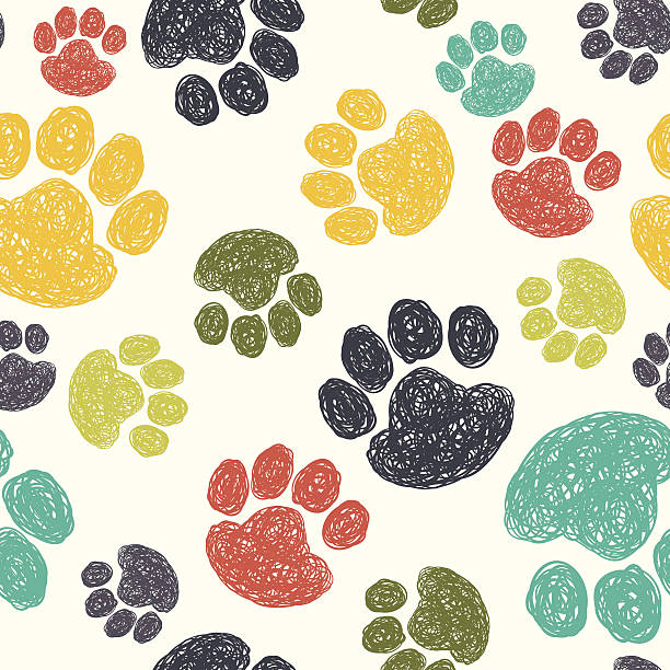 paw print pattern - animals background stock illustrations