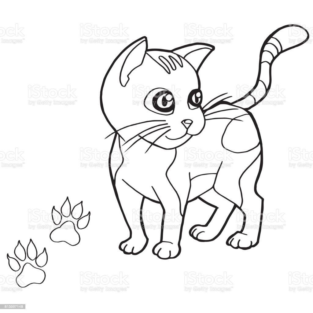 Kedi Boyama Page Vektör Ile Pençe Yazdır Stok Vektör Sanatı