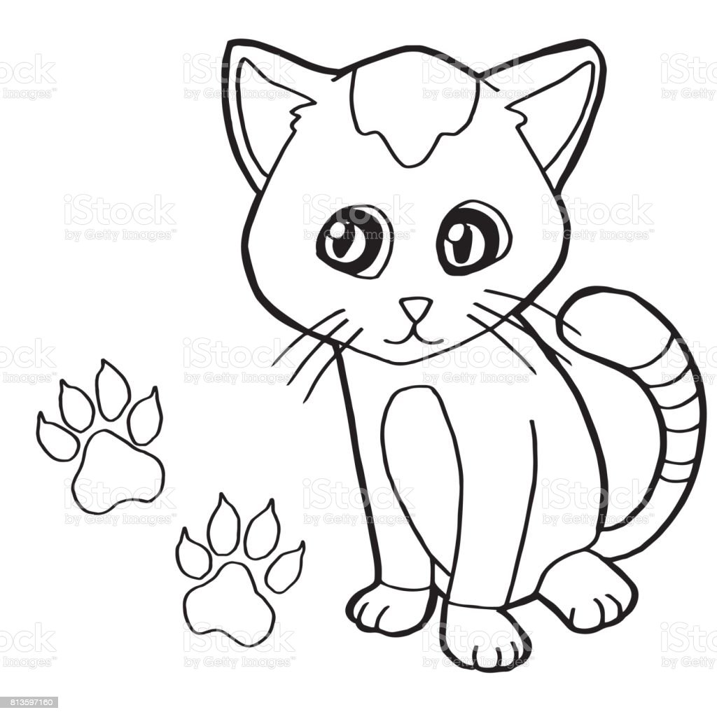 Paw Print With Cat Coloring Page Vector Stock Vector Art More