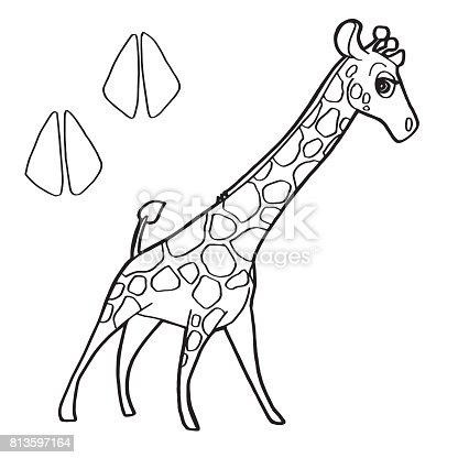 Ilustración de Impresión De La Pata Con Jirafa Vector Página Para ...