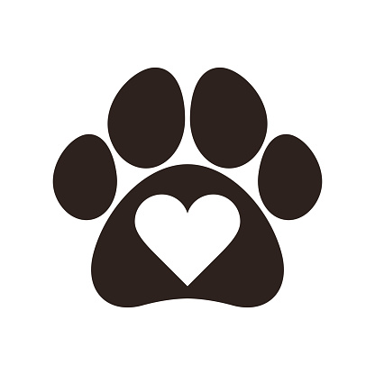 Download Paw Print With Heart Stock Illustration - Download Image ...